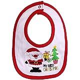 Newborn Baby Baby Infant Kids Feeding Bib Santa Printed 100% Soft Cotton Bib Suitable For Newborn To 24 Months - B06XRT5764