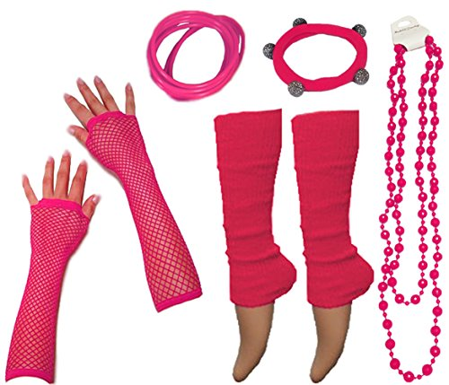 Neon UV Fluorescent Legwarmers, Fishnet Gloves, Beads and Jelly Bracelets 80s Fancy Dress Party - 10 Colours available