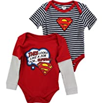 "DC Comics Superman ""This Looks"" 2-Pack Infant Bodysuit Set (18M)"