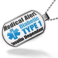 "Neonblond Dogtag Medical Alert Blue ""Diabetic Insulin Dependant TYPE 1"" - Dog tags necklace from NEONBLOND Jewelry & Accessories"