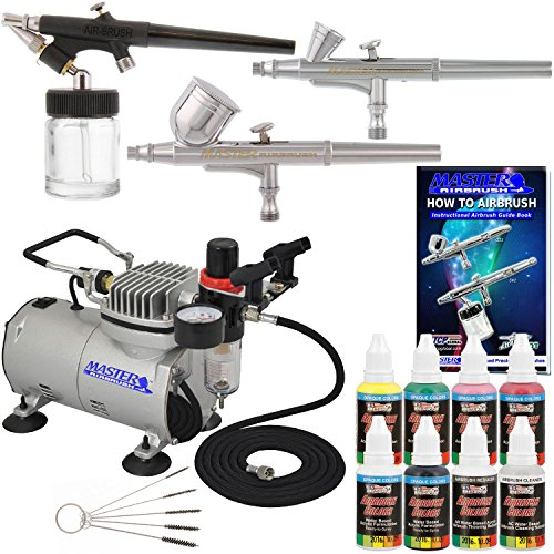 3 Airbrush Kit with 6 Createx Primary Airbrush Colors and Master Airbrush TC20 Pro Airbrush Compressor - Air Filter/Regulator- Airbrush Holder - 2 Gravity Feed Dual Action Master Airbrushes and 1 Suction Master Feed Airbrush and a (FREE) How to Airbrush I