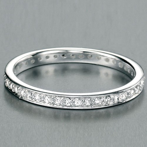 Cubic Zirconia Eternity Stacking Ring in Silver