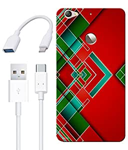 Combo of Red Green Abstract HD UV Printed Mobile Back Cover, Charging Cable and OTG Cable For Letv Le 1S