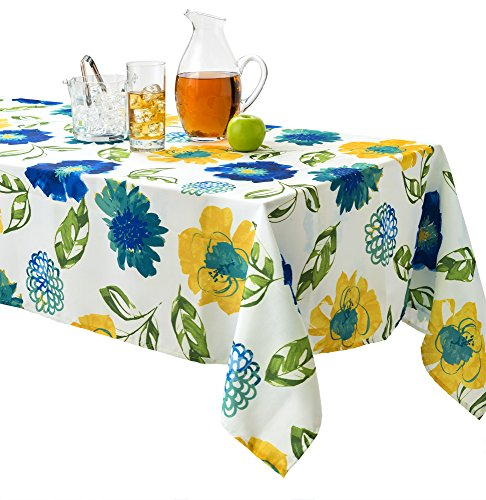 Benson Mills Lola Indoor Outdoor Spillproof Stain Resistant Tablecloth (Teal, 70