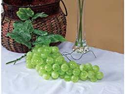 Pack of 6 Country Vineyard Artificial Green Grape Clusters with Leaves 14\