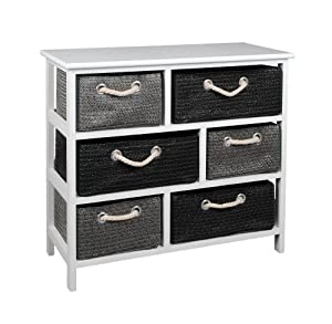 landhaus kommode schrank sideboard 63 x 70 cm regal wei mit sechs k rben neu k che. Black Bedroom Furniture Sets. Home Design Ideas