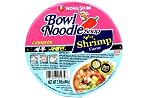 Nong Shim Bowl Noodle Soup (Spicy Shrimp Flavor) - 3.03oz - 86g (Pack of 6 bowls) by Nong Shim