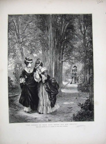 1872 True Love Romance Upset Trees Country Fine Art