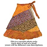 Reversible 3/4 silk sari wrap skirt by Jedzebel DN204. Styles and Colors May Vary.