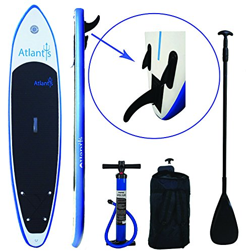 "End Of Summer SALE - LOWEST PRICE EVER Atlantis Paddle Boards SUP Inflatable Paddle Board 10'6"". Includes Carrier Bag, Adjustable Stand-Up Paddle & Dual Action High Pressure Pump w/ PSI Guage."