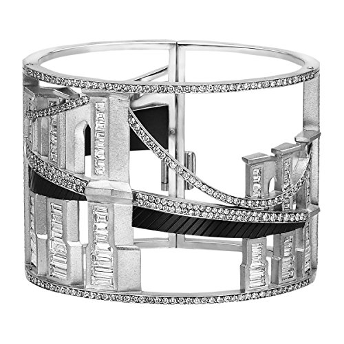 Bridges of New York Bangle Cuff Bracelet in 18K White Gold & Titanium with 671 Diamonds April Birthstone