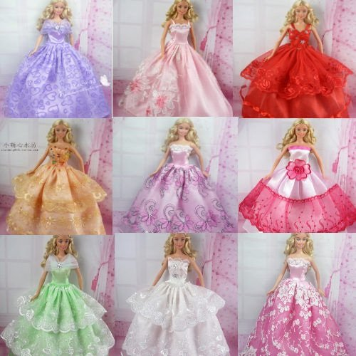 5 Pcs Handmade Fashion Wedding Party Gown Dresses & Clothes for Barbie Doll Xmas Gift (One Free Mini Dress )