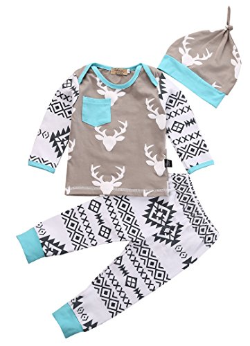 Newborn Baby Girls Boy Deer Long Sleeve Tops T-shirt Pants Hat 3pcs Outfits Set (0-6 Months, Deer)