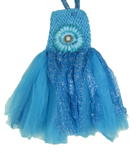 Baby Girl Daisy Glitter Tutu Dress With Flower Clip (Blue) front-68412