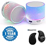 Apple IPad Air Compatible Certified Colorful LED Light Crack Pattern Mini Stereo Portable Wireless Bluetooth Speaker With S530 Mini Style 1pcs Wireless Bluetooth Headset(1 Year Warranty)
