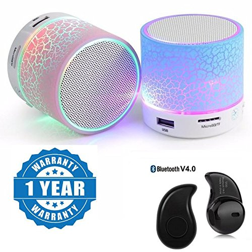 One Plus 3T Compatible Certified Colorful LED Light Crack Pattern Mini Stereo Portable Wireless Bluetooth Speaker With S530 Mini Style 1pcs Wireless Bluetooth Headset(1 Year Warranty)