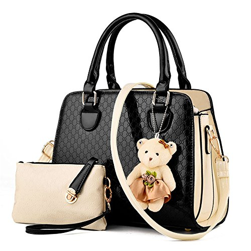 lovely-women-2-piece-tote-bag-pu-leather-top-handle-handbag-purse-bags-set-black
