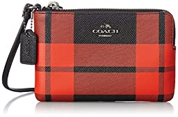 COACH Women\'s Plaid Corner Zip QB/Mount Plaid Clutch