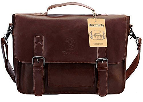 Vintage Leather Briefcase, Berchirly PU Leather Shoulder Messenger Bag Laptop
