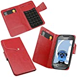 ITALKonline Nokia C7 Red Super Slim PU Leather Executive Multi-Function Wallet Case Cover Organiser Flip with Credit / Business Card Holder - Suction Pad Design