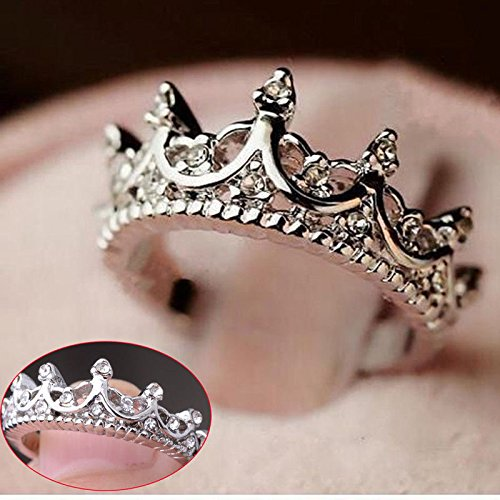 Fashion Princess Silver Rhinestone Crown Wedding Rings Size 7 8 9
