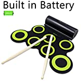 Rockpals Roll up Drum Electronic Drum Set with Rechargeable Battery 10 Hours Playtime, Built in Speaker Headphone Jack for Practice Starters Kids (Black+Green)