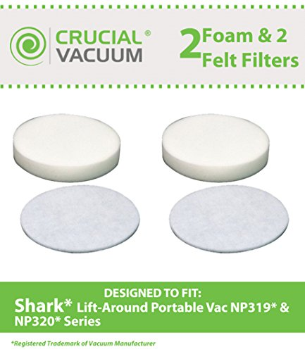 Shark Navigator Lift-Around Portable NP319 & NP320 2 Foam & 2 Felt Filters, Part # XFF318, Designed & Engineered by Crucial Vacuum (Shark Liftaround Vacuum compare prices)