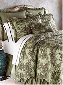 Be you tiful home toile de jouy quilt set king green home amp kitchen