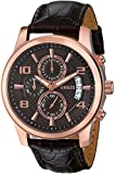 GUESS Men's U0076G4 Stainless Steel Watch with Brown Leather Band