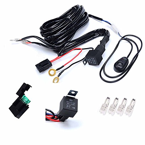 KAWELL Universal 2 lead Off Road ATV Jeep LED Light Bar Wiring Harness Kit - 40 Amp Relay ON/OFF Switch ( 12V 40A waterproof ) (Dual Light Bar Harness compare prices)