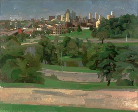 The High Quality Polyster Canvas Of Oil Painting 'Wilbur Niewald,Kansas City,View From Penn Valley Park,1989' ,size: 24x30 Inch / 61x75 Cm ,this Cheap But High Quality Art Decorative Art Decorative Canvas Prints Is Fit For Powder Room Artwork And Home Artwork And Gifts (Semi Gloss Tile Sealer compare prices)