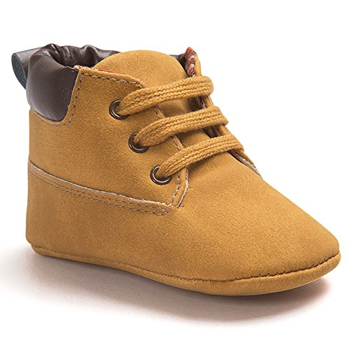 Voberry® Toddler Baby Boy's Leather Sneaker Shoes Lace up Snow Boots Warm (12~18Month, Khaki)