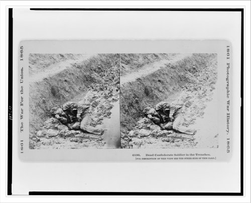 Stereoview (L): Dead Confederate soldier in the trenches