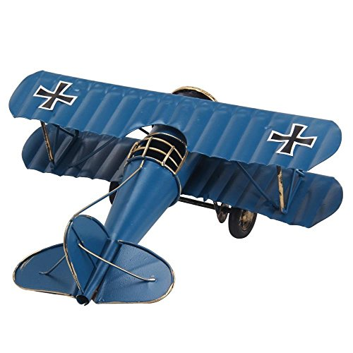 Berry President® Vintage / Retro Wrought Iron Aircraft Handicraft - Metal Biplane Plane Aircraft Models -The Best Choice for Photo Props/christmas Gift/home Decor/ornament/souvenir Study Room Desktop Decoration (Blue)