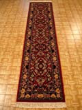 2'7 x 13'1 Red Persian Tabriz Runner Rug