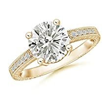 buy 9 Mm Solitaire 4-Prong Classic Moissanite Ring With Milgrain Detailing In 14K Yellow Gold