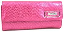 Kenneth Cole Reaction Indian Coral Pink Patent Reptile Tri Me A River Wallet