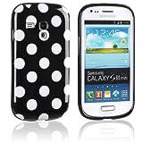 tinxi® Silikon Schutzhülle für Samsung Galaxy S3 Mini Hülle Silicon Rück Schale Tasche Cover Case Etui Schwarz mit weiß Punkt Polka Dots