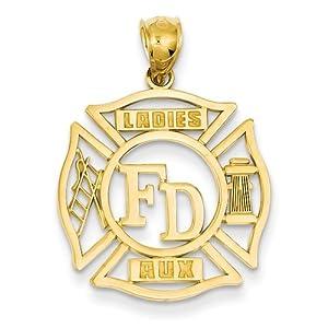 14k FD Ladies AUX in Shield Pendant - Measures 28x21mm - JewelryWeb