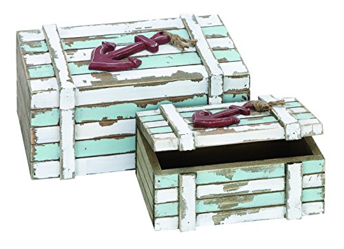 Benzara Wood Box Nautical Maritime Decor, 10-Inch By 7-Inch, Set Of 2 front-982105