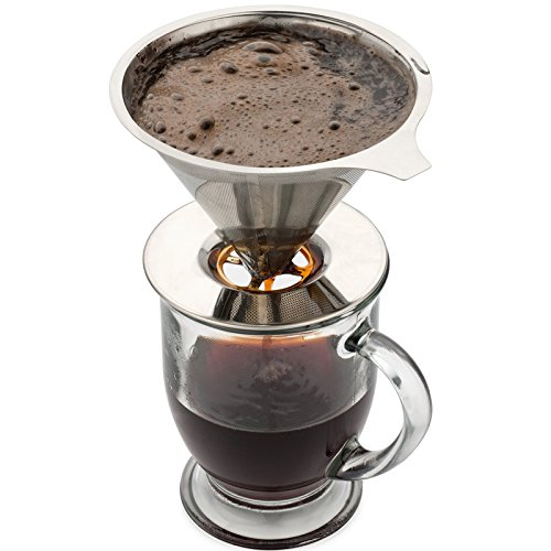 BESTSELLER UK #1 Stainless Steel Drip Coffee Filter Reusable Pour Over Single Serve Cup Brewer Best Buy Price Review uk