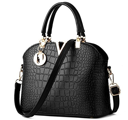 """Di Grazia Women's Handbag(Black,Black-Croc-V-Small-Handbag)"""