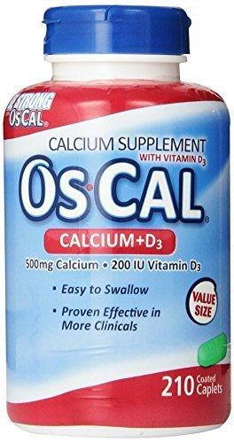 Os-Cal 500 + D, Calcium 500 Mg., D3 200 I.U., 210 Coated Caplets By Os-Cal