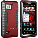 Insten Hybrid Case Compatible with Motorola Droid Bionic XT875, Black TPU / Red Hard
