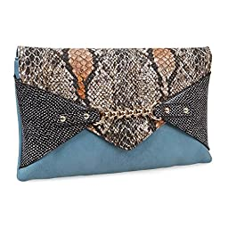 BMC Chic Faux Leather Multicolor Snakeskin Print Chain Accented Pale Denim Blue Envelope Style Statement Clutch
