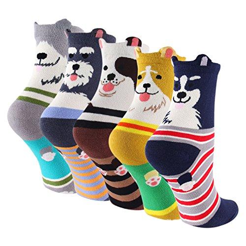 keaza-womens-5-pack-dog-cotton-winter-warm-crew-novelty-cartoon-socks-wz10