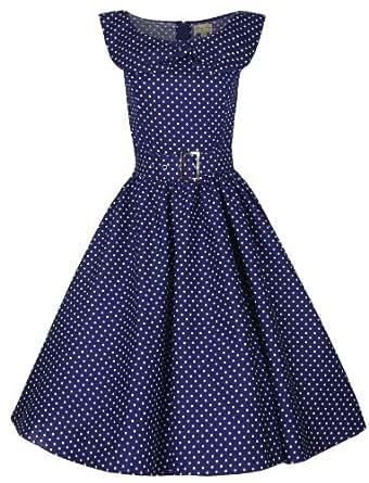 Lindy Bop 'Hetty' Polka Dot Bow Shawl Collar Vintage 1950's Rockabilly Swing Party Dress (XS, Navy Blue)