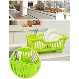 Home Kitchen Dish Drainer Rack Drying Tray Sink Holder Basket Organizer (Green)