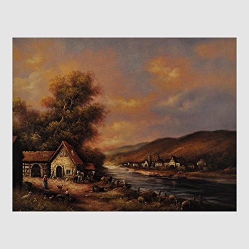 Kunstdruck idyllische Landschaft Bauernhaus Pferd Hühner Hunde Schafe im Morgengrauen am Fluss Dorf gemalt 40 x 50 cm, Poster, Bild, Cliprahmen optional, hier ohne Rahmen