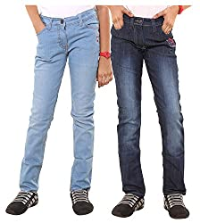 Menthol Girls Light Denim and Medium Denim Pants Combo (Pack of 2) (13-14 Years)